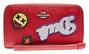 Coach PHONE WALLET IN CROSSGRAIN LEATHER WITH VARSITY PATCHES F 20977