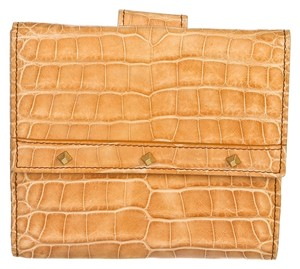 Gucci Gucci Beige Crocodile Embossed Leather Studded Wallet