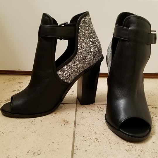 Shoemint Peep Toe Thick Heel Black & White Boots Image 1