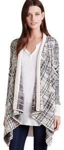 Anthropologie Mixed Print Draped Front Cotton Blend Cardigan