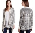 Anthropologie Mixed Print Draped Front Cotton Blend Cardigan Image 1