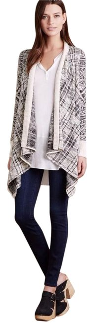 Anthropologie Mixed Print Draped Front Cotton Blend Cardigan Image 2