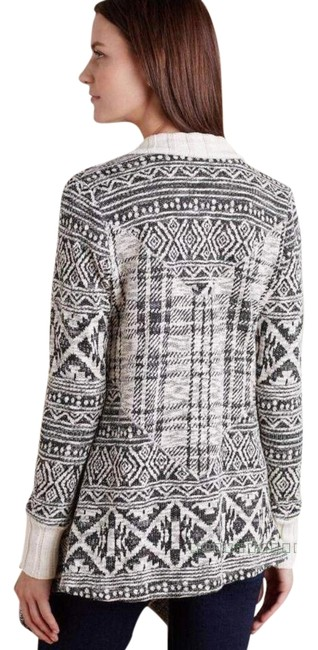 Anthropologie Mixed Print Draped Front Cotton Blend Cardigan Image 3
