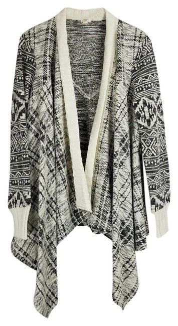 Anthropologie Mixed Print Draped Front Cotton Blend Cardigan Image 4