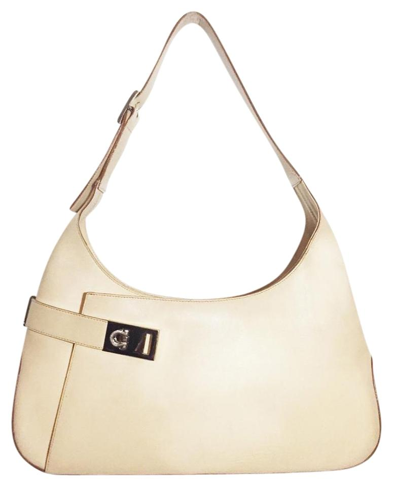 946460ffea76 Salvatore Ferragamo Gancini Handbag Beige Leather Hobo Bag - Tradesy