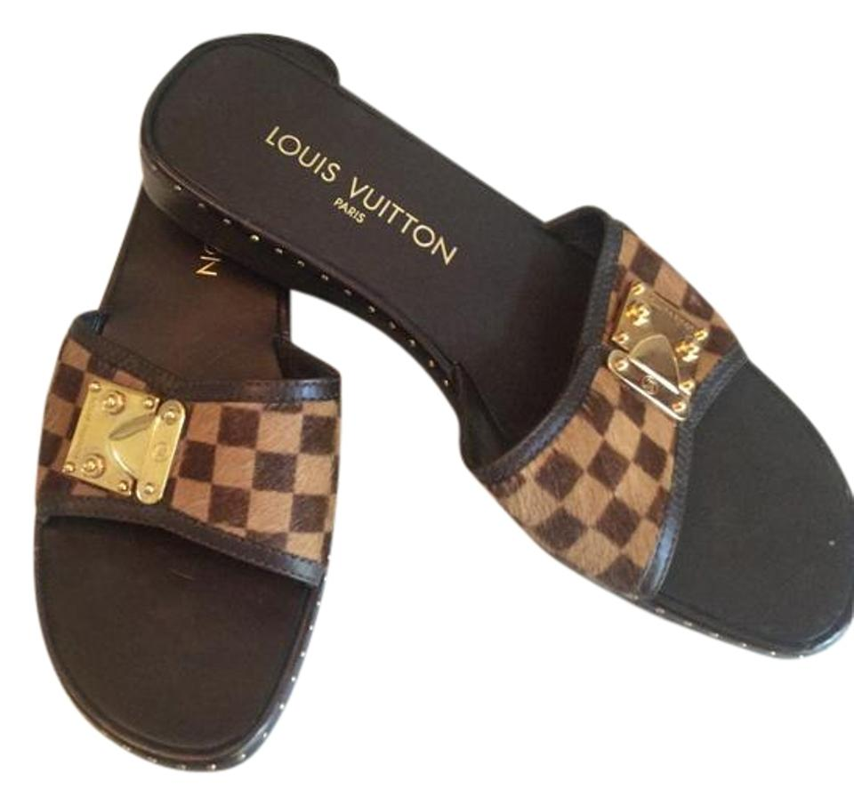 15548bb0aaee Louis Vuitton Brown and Beige Lv Damier Strap   Sole Mules Slides ...