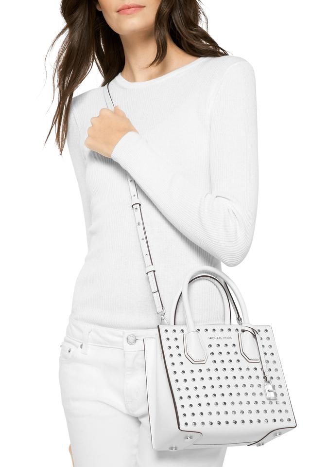 569d14a11d53b Michael Kors Mercer Medium Studded Optic White Studio Ballet Messenger Bag  Image 2. 123