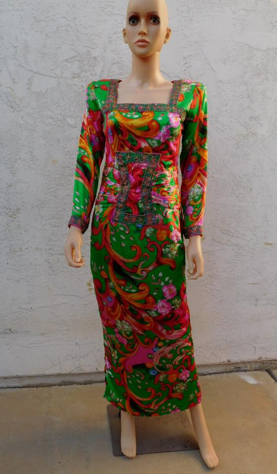 Multicolor Vintage 80s Beaded Psychedelic Silk Evening Gown S Long ...