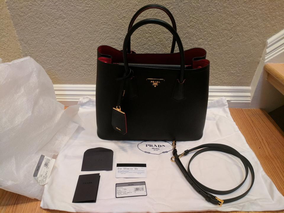 962642a5748a Prada Business Saffiano Cuir Double Large Convertible Tote in Black (Nero)  w/ Red. 1234567891011