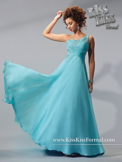 Kiss Kiss Formal Mystic Blue Chiffon P.c. Mary's Bridal P3705 Feminine Bridesmaid/Mob Dress Size 8 (M)