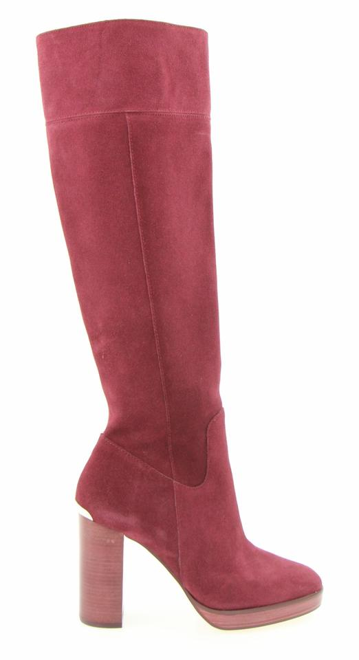 9cd90628ccfa6d Michael Kors Red Merlot Suede Regina Knee High Platform Boots ...