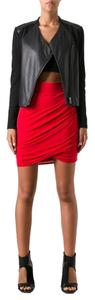 Helmut Lang Asymmetrical Modal Mini Skirt Red