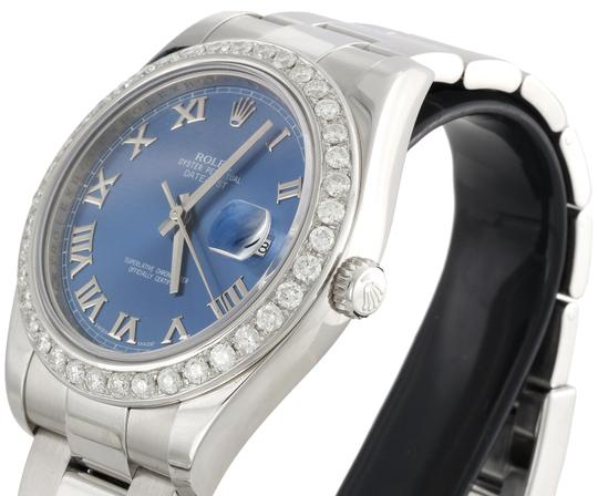 Rolex Rolex DateJust II 116334 Diamond Watch Azure Blue Roman Dial 2.75 CT. Image 6