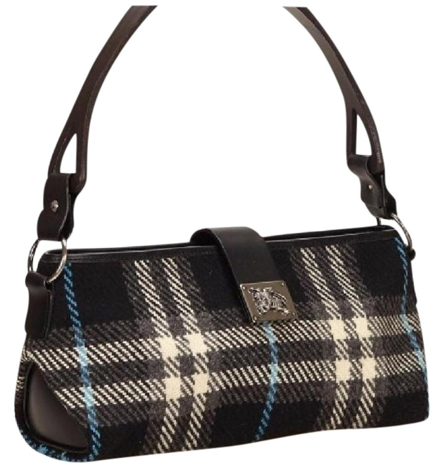 4a801ab8b154 Burberry Black Blue and White Wool Leather Shoulder Bag - Tradesy