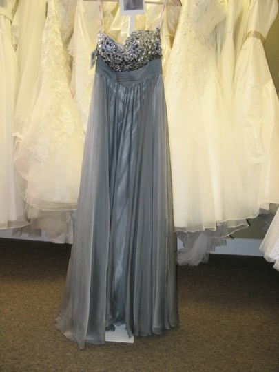 Kiss Kiss Formal Dark Platinum Chiffon P.c. Mary's Bridal S15-p3707 Feminine Bridesmaid/Mob Dress Size 8 (M)