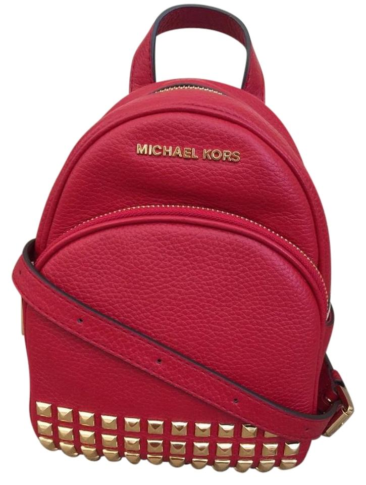 50102b8adfe4 Michael Kors Abbey Xs Studded Red Gold Leather Backpack - Tradesy