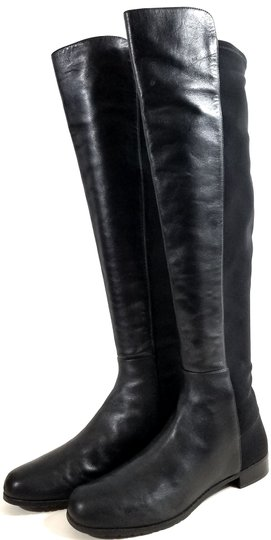 Stuart Weitzman Over The Knee 5050 Micro Stretch Napa Black Leather Boots Image 2