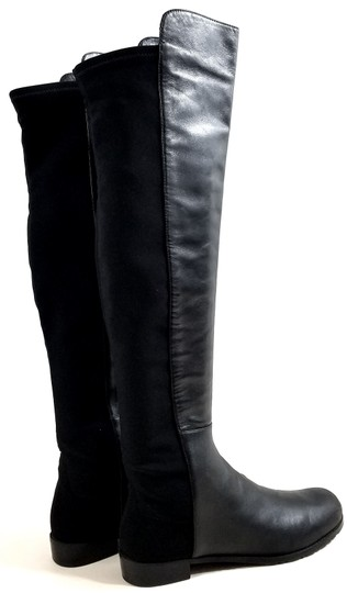 Stuart Weitzman Over The Knee 5050 Micro Stretch Napa Black Leather Boots Image 3