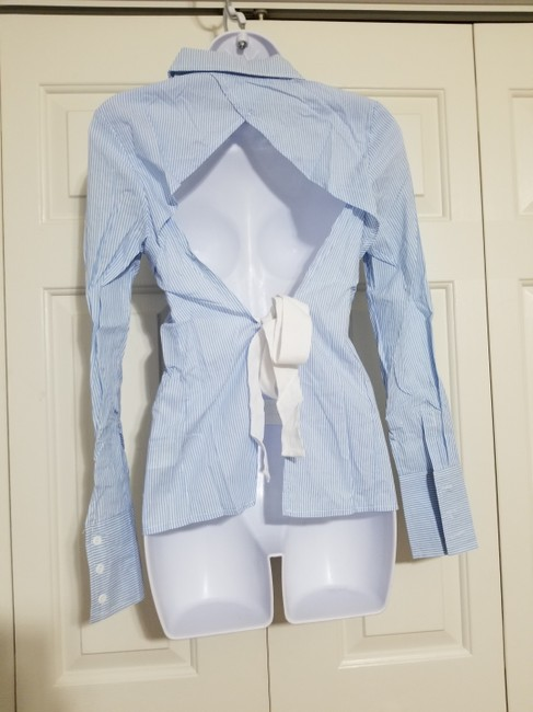Nasty Gal Button Down Shirt Blue Image 1
