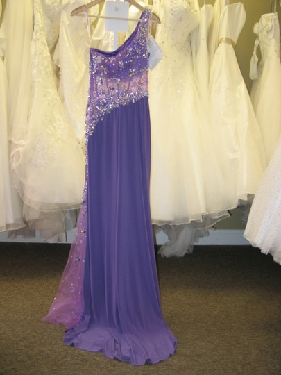 Kiss Kiss Formal Violet Stretch Jersey P.c. Mary's Bridal P3718 Sexy Bridesmaid/Mob Dress Size 6 (S)
