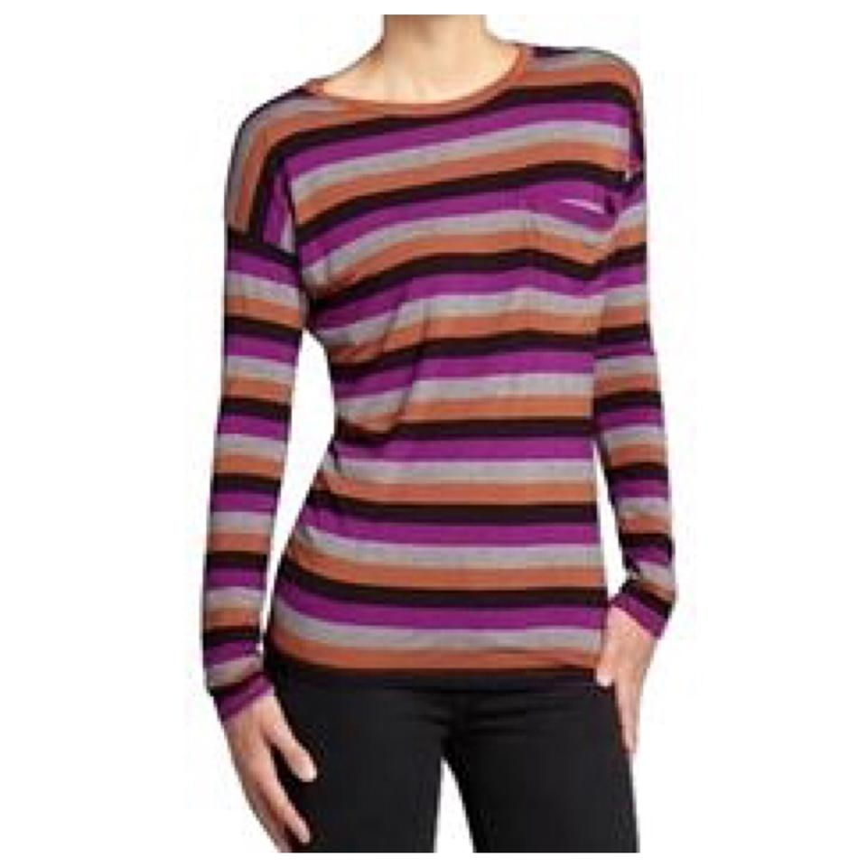 Romeo juliet couture long sleeve striped shirt t shirt for Purple and black striped t shirt