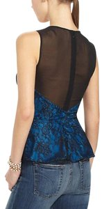 Anthropologie Sheer Mesh Yoke Lace Overlay Silk Lining Back Zip Super Flattering Top Blue