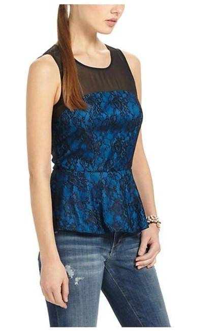 Anthropologie Sheer Mesh Yoke Lace Overlay Silk Lining Back Zip Super Flattering Top Blue Image 1