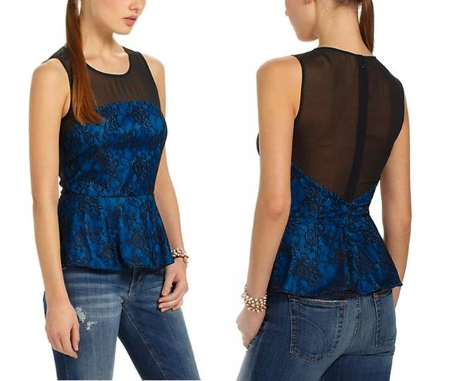 Anthropologie Sheer Mesh Yoke Lace Overlay Silk Lining Back Zip Super Flattering Top Blue Image 11