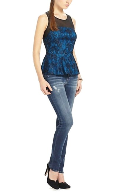 Anthropologie Sheer Mesh Yoke Lace Overlay Silk Lining Back Zip Super Flattering Top Blue Image 2