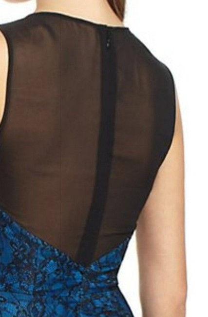 Anthropologie Sheer Mesh Yoke Lace Overlay Silk Lining Back Zip Super Flattering Top Blue Image 4