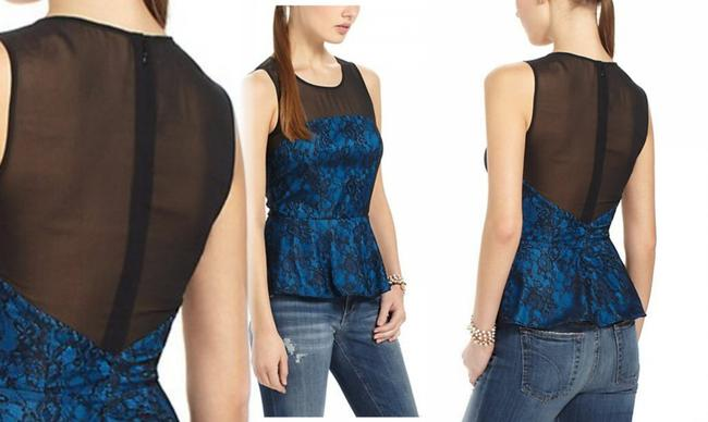 Anthropologie Sheer Mesh Yoke Lace Overlay Silk Lining Back Zip Super Flattering Top Blue Image 5
