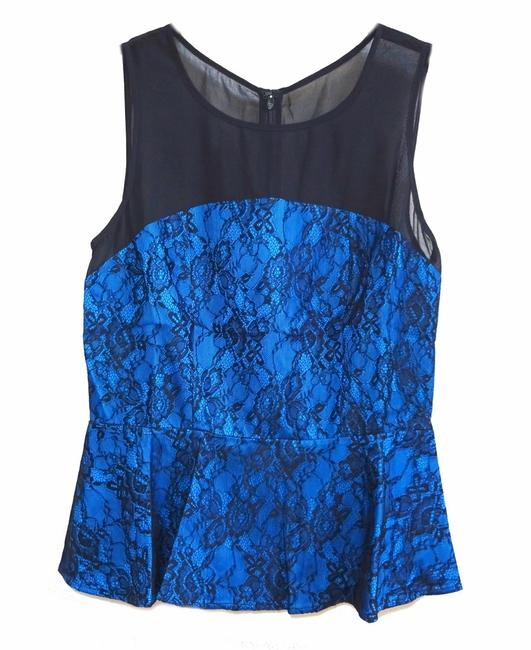 Anthropologie Sheer Mesh Yoke Lace Overlay Silk Lining Back Zip Super Flattering Top Blue Image 6