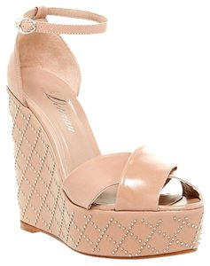 Delman Stud Studded Wedge High Heel Nude Wedges
