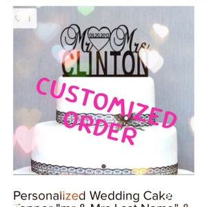 Sparkle Silver Customized Order For Jackson Cake Topper