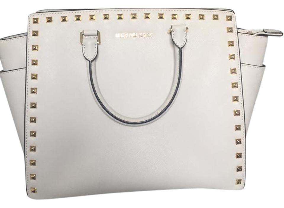 762c21bc25e5 MICHAEL Michael Kors Large Studded Selma Cream   Gold Saffiano Leather  Satchel
