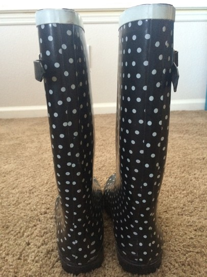 Nomad Rain Boots Adorable Black with White Polka Dots Boots