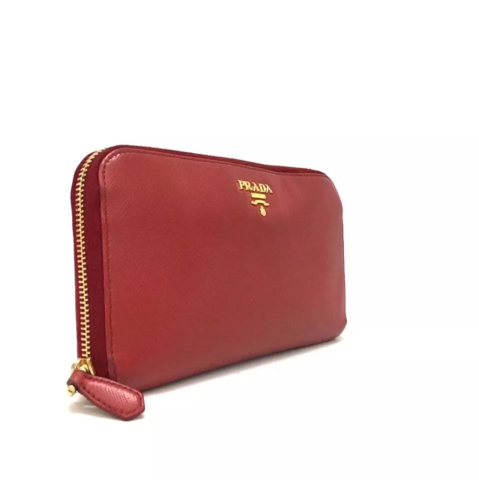 966c754ea881 Prada Red Saffiano Leather Zip Around Long Wallet - Tradesy
