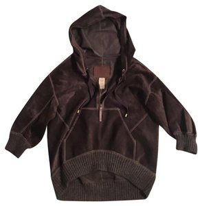 UGG Australia Suede Hooded Pullover Brown Leather Jacket