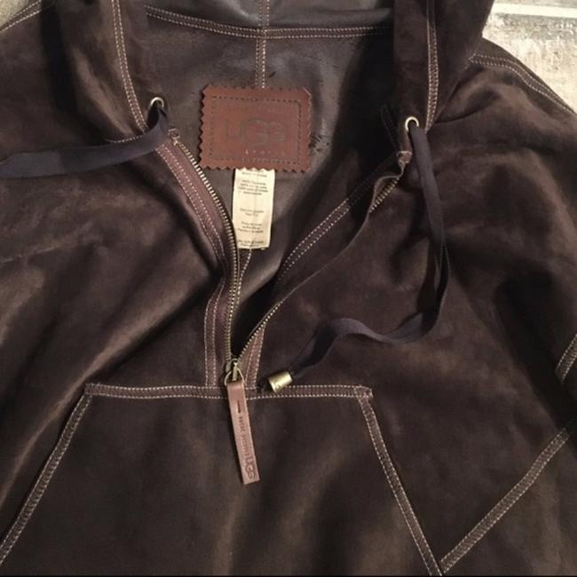 UGG Australia Suede Hooded Pullover Brown Leather Jacket Image 1