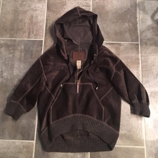 UGG Australia Suede Hooded Pullover Brown Leather Jacket Image 2