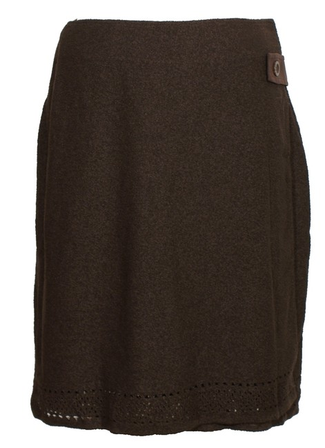 Item - Tobacco Brown Crinkle Boucle Wool Blend Knit Pointelle Wrap Skirt Size 8 (M, 29, 30)