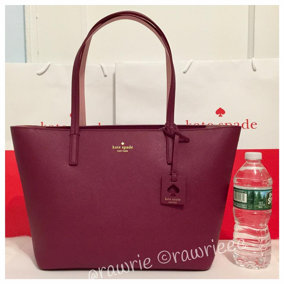 e134fab3c11a Kate Spade Scott s Place Lida Merlot Saffiano Zip Top and Wallet Set Burgundy  Leather Tote
