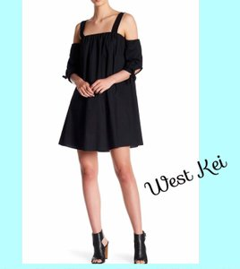 West Kei short dress NWT Black So Comfy Square Neck 3/4 Tie Sleeves Cool Woven Fabric Made In Usa on Tradesy