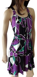 FLORA KUNG short dress NWT racer back purple black art print Silk Jersey Knit Sleeveless Halter on Tradesy