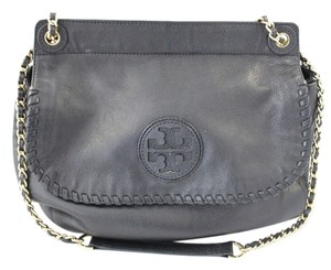 Tory Burch Marion Leather Pebbled Saddle Shoulder Bag