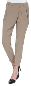 Vince Leather Chic Drapey Neutral Relaxed Pants Beige