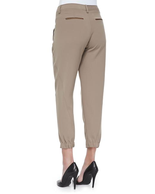 Vince Leather Chic Drapey Neutral Relaxed Pants Beige Image 1