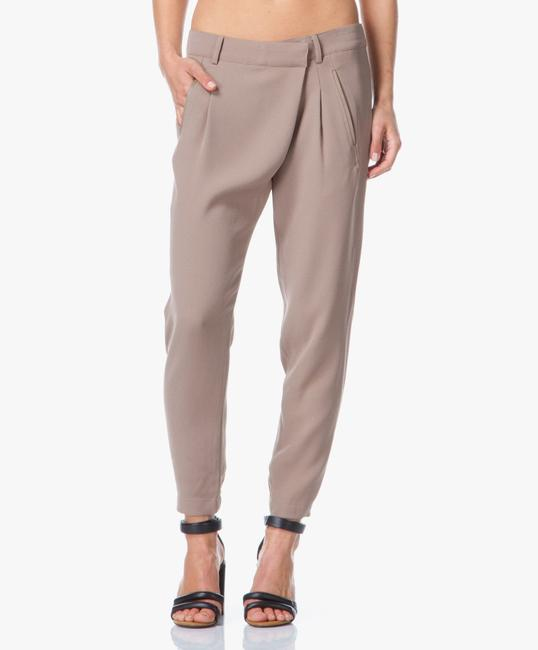 Vince Leather Chic Drapey Neutral Relaxed Pants Beige Image 2