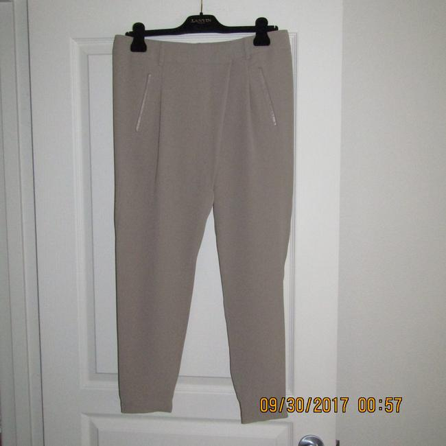 Vince Leather Chic Drapey Neutral Relaxed Pants Beige Image 4
