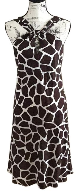 Item - Brown Off White Summer Mid-length Short Casual Dress Size 6 (S)
